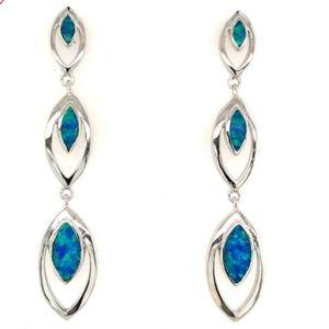 Opal Moon Drop Silver Earrings
